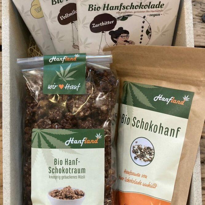 Bio suesses Paket Hanfsamen Schokolade schokolierte Hanfsamen Schoko Muesli Hanfland