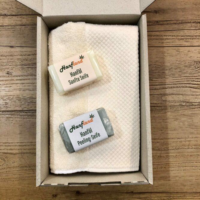 Wellness Paket Hanfseife Hanf Peeling Hanf Handtuch geschenkpaket Hanfland