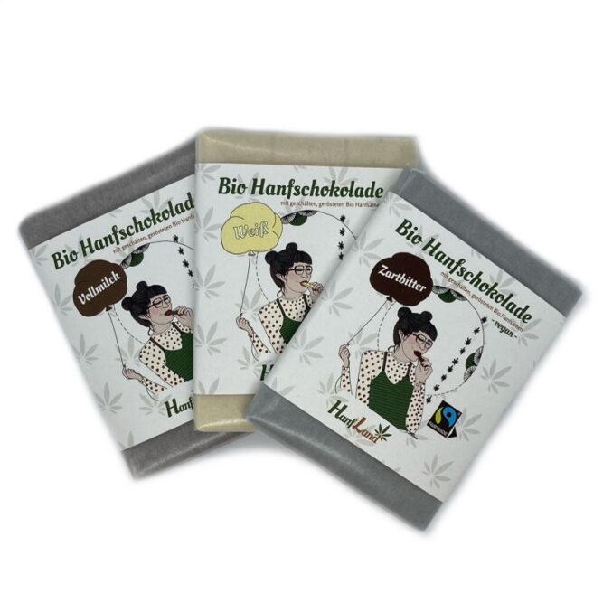 Bio Hanfschokolade zartbitter weisse vollmilch trio mit Hanfsamen von Hanfland aus oesterreich hanfland