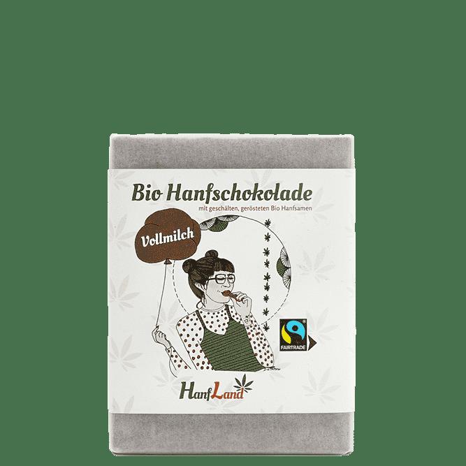 Bio Vollmilch Hanfschokolade mit geschaelten geroesteten Bio Hanfsamen aus Premium Hanf aus Oesterreich in der 70g Packung von Hanfland