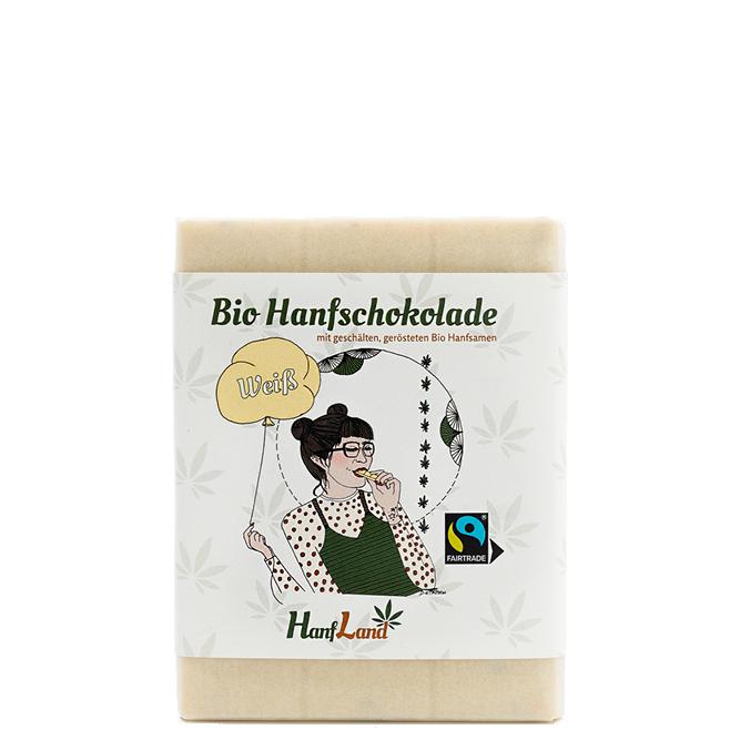 Bio Weisse Hanfschokolade mit geschaelten geroesteten Bio Hanfsamen aus Premium Hanf aus Oesterreich in der 70g Packung von Hanfland