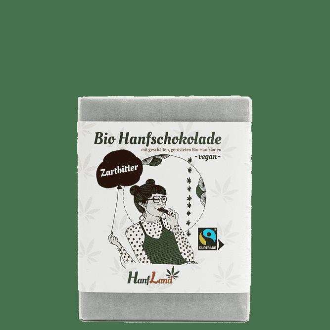 Bio Zartbitter Hanfschokolade mit geschaelten geroesteten Bio Hanfsamen aus Premium Hanf aus Oesterreich in der 70g Packung von Hanfland