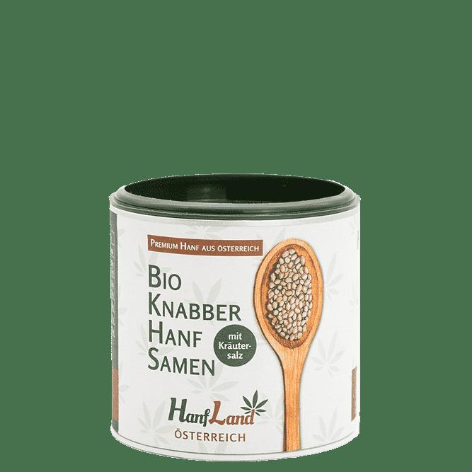 Bio Knabberhanfsamen geroestet mit kraeutersalz aus ungeschaelten Hanfsamen aus Oesterreich aus Premium Hanf in der 125g Packung von Hanfland