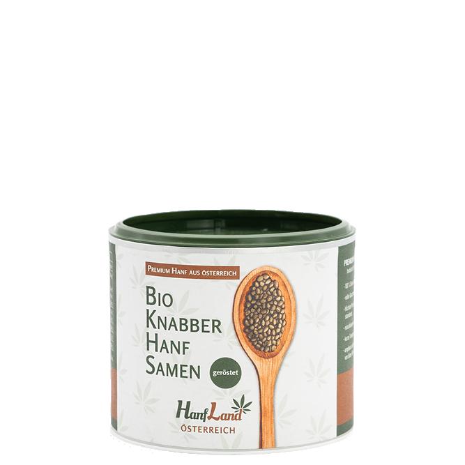 Bio Knabberhanfsamen natur geroestet aus ungeschaelten Hanfsamen aus Oesterreich aus Premium Hanf in der 250g Packung von Hanfland