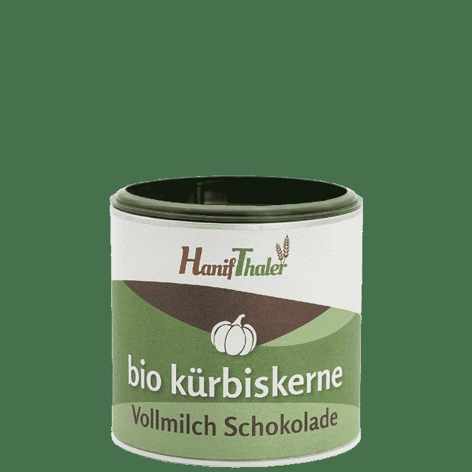 Bio Kuerbiskerne mit Vollmilch Schokolade mit Bio Kuerbiskernen aus Oesterreich von Hanifthaler Hanfland