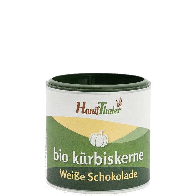 Bio Kuerbiskerne mit weisser Schokolade mit Bio Kuerbiskernen aus Oesterreich von Hanifthaler Hanfland
