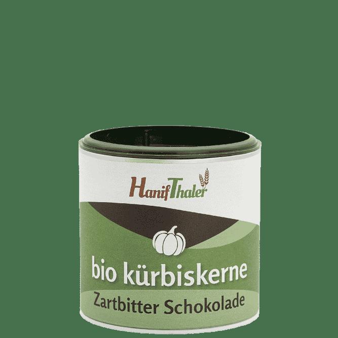 Bio Kuerbiskerne mit Zartbitter Schokolade mit Bio Kuerbiskernen aus Oesterreich von Hanifthaler Hanfland