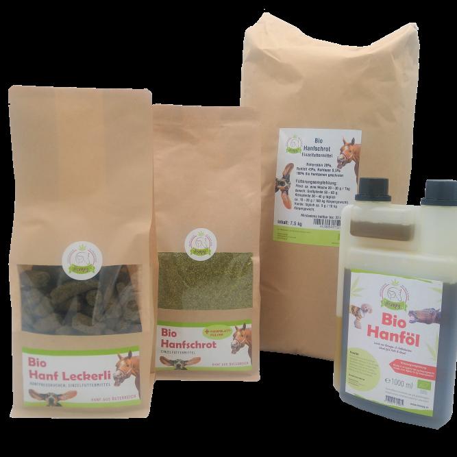 Bio Fellwechselpaket gross mit Bio hanf leckerli bio hanfschrot mit hanfblattpulver hanfschrot und bio hanfoel aus premium hanf aus oesterreich von hempy hanfland